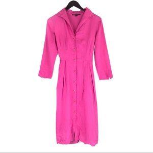 Lafayette 148 Pink Button Up Linen Shirt Dress